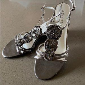 Beautiful Pewter sandals w/beading